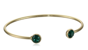 Oroclone Gold Plated 8mm Emerald Swarovski Bangle Bracelet gift Esmeralda picture image