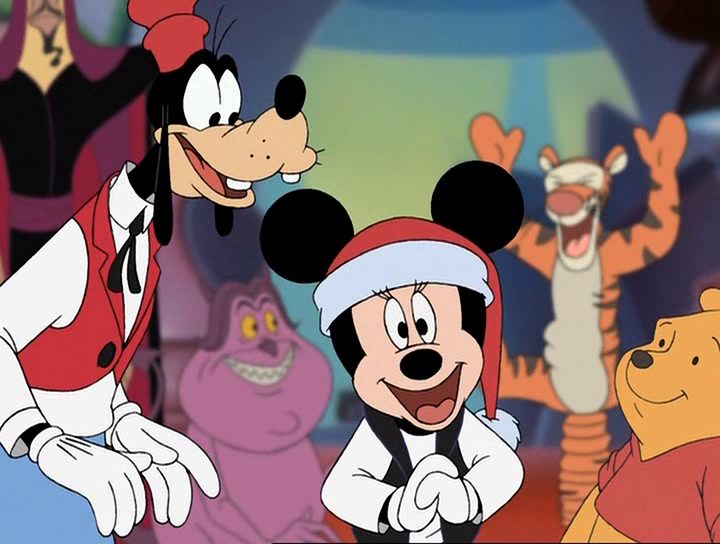 Minnie, Goofy, with Jafar, Pain, Tigger, and Pooh Mickey's Magical Christmas:  Snowed in at the House of Mouse  picture image