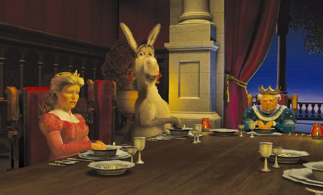 Donkey with Fiona's parents eating Dinner Shrek 2 picture image