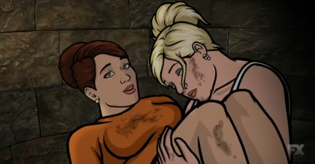 Pam Poovey carrying Cheryl/Carol Tunt, Archer Vice  episode 4 House call, picture image