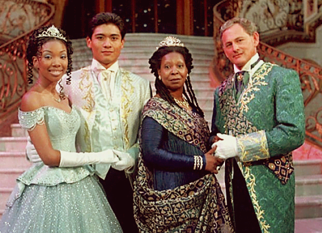 Brandy as Cinderella, Paolo Montalban as Prince Christopher, Whoopi Goldberg as Queen Constantina and Victor Garber as King Maximillian 1997 Cinderella picture image