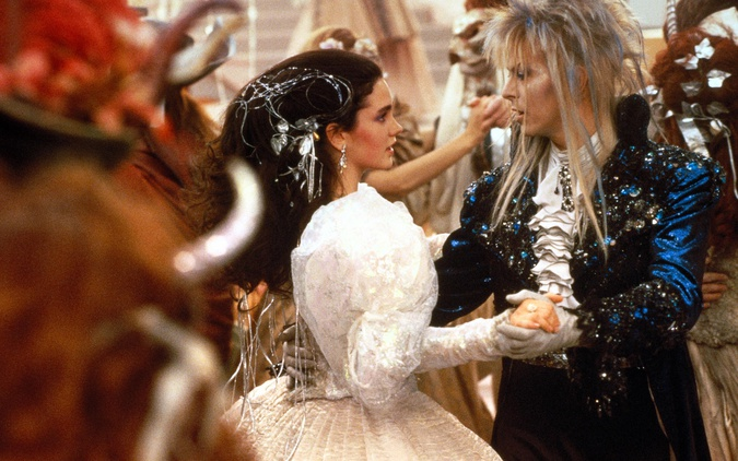 Sarah and Jareth dancing Jennifer Connelly David Bowie Labyrinth picture image