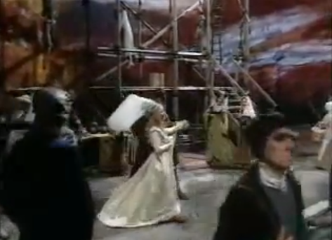 Hetty Baynes as Fleur de Lys with Richard Morant as Phoebus de Chateaupers dancing at their wedding with corpses 1977 Hunchback of Notre Dame picture image