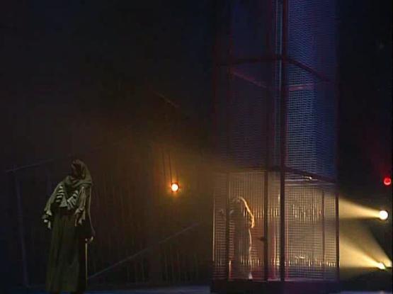 Daniel Lavoie as Frollo Esmeralda as Helene Segara Notre Dame de Paris picture image Visite de Frollo à Esmeralda