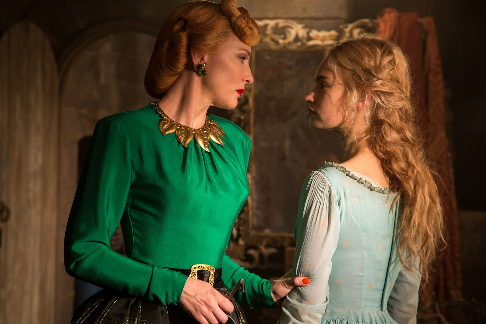 Lily James as Ella and Cate Blanchett as Lady Tremaine Cinderella 2015 picture image