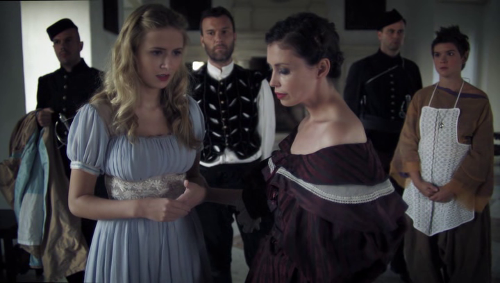 Jane March as the Evil Queen, Eliza Bennett as Snow White and other people Grimm's Snow White picture image
