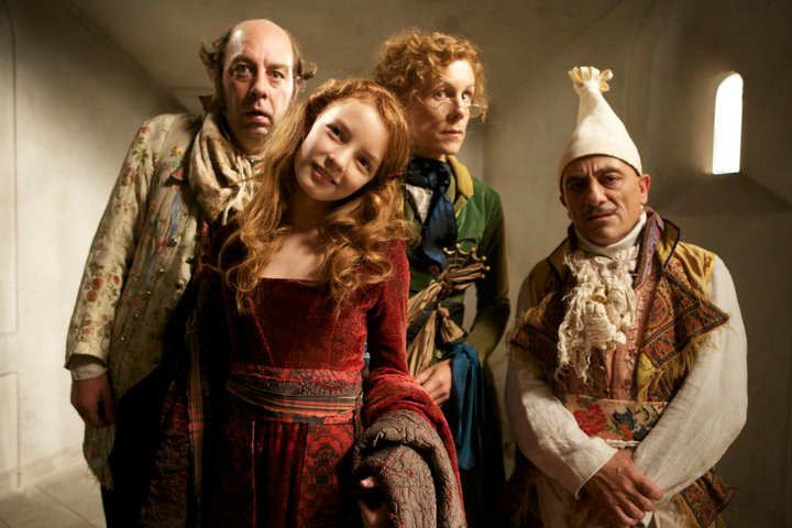 Dakota Blue Richards as Maria Merryweather, Juliet Stevenson as Miss Heliotrope, Michael Webber as Digweed and Andy Linden as Marmaduke Scarlet The Secret of Moonacre picture image