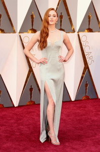 Sophie Turner wearing Wearing custom Galvan at 2016 Oscars Image Source: Getty / Todd Williamson picture