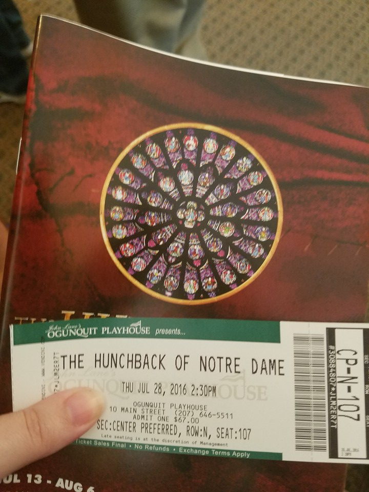 My Ticket and program, Oguinquit Playhouse Hunchback Notre Dame picture image