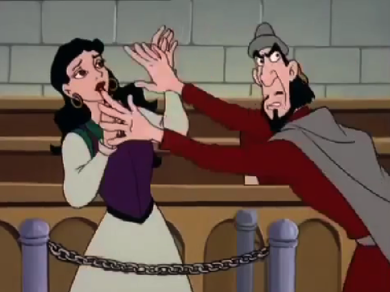 Frollo tries to cover Esmeralda's face Other Burbank Hunchback of Notre Dame picture image
