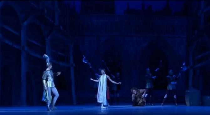 Esmeralda begging Phoebus o spare Quasimodo, La Esmeralda, Kremlin Ballet Company, Moscow picture image