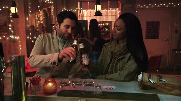 Eion Bailey as August Booth & Sonequa Martin-Green as Tamara Season 2 Episode 18, Selfless Brave True, ABC Once Upon a Time picture image