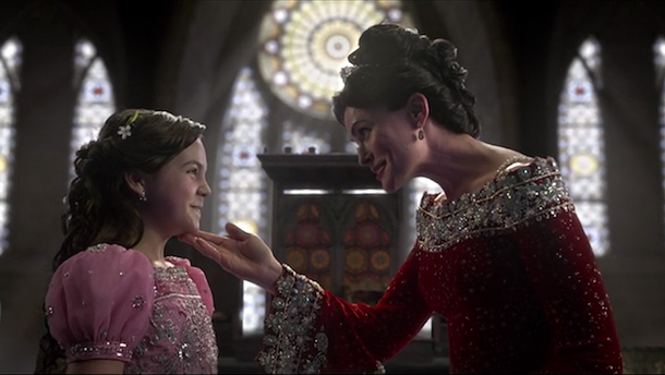 Bailee Madison as Young Snow White & Rena Sofer as Queen Eva Season 2 Episode 15 The Queen is Dead ABC Once Upon a Time picture image