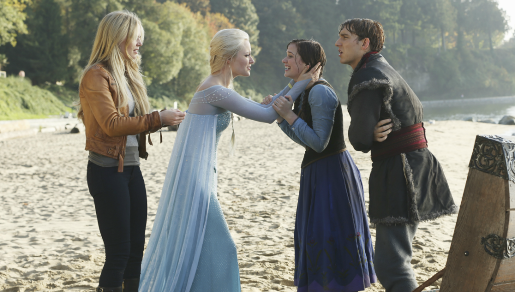 Jennifer Morrison as Emma Swan, Georgina Haig as Elsa, Elizabeth Lail as Anna & Scott Michael Foster as Kristoff ABC Once Upon a Time Fall picture image