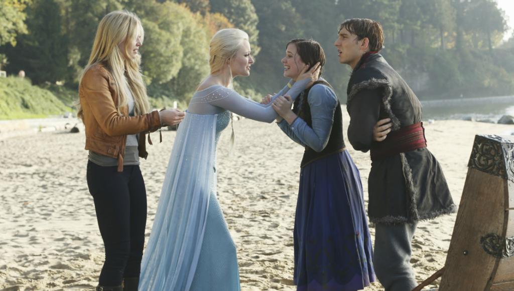 Jennifer Morrison as Emma Swan, Georgina Haig as Elsa, Elizabeth Lail as Anna & Scott Michael Foster as Kristoff ABC Once Upon a Time Fall picture image