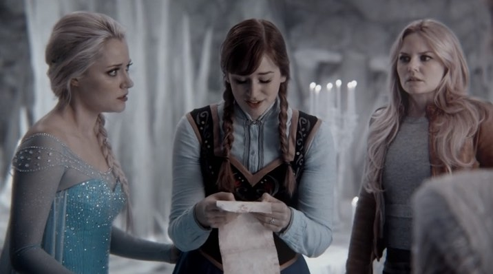 Georgina Haig as Elsa, Elizabeth Lail as Anna & Jennifer Morrison as Emma Swan ABC Once Upon a Time Shattered Sight picture image