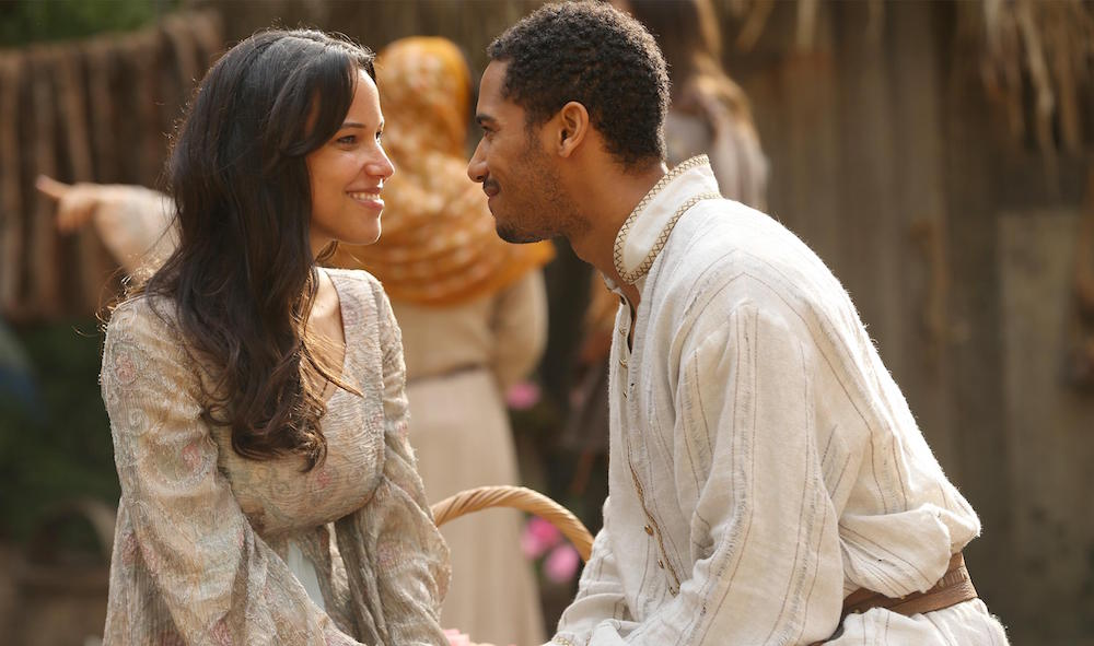 Caroline Ford as Nimue & Elliot Knight as Merlin review picture image