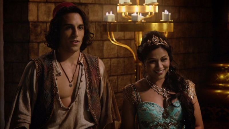 Deniz Akdeniz as Aladdin & Karen David as Princess Jasmine Once Upon a Time Season 6 Episode 5, Street Rat picture image