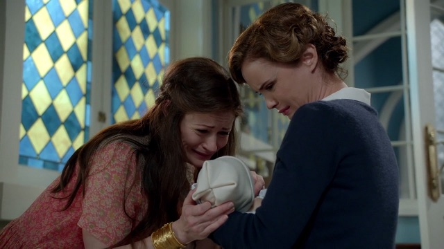 Emilie de Ravin as Belle and Keegan Connor Tracy as The Blue Fairy Once Upon a Time Season 6 Episode 9 changlings picture image