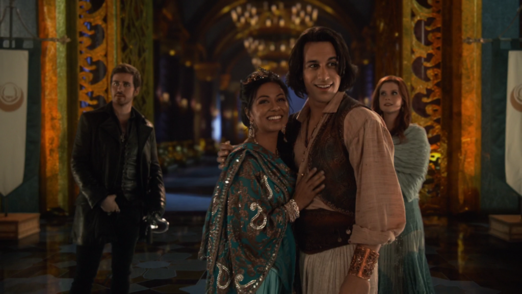 Colin O'Donoghue as Hook, Deniz Akdeniz as Aladdin, Karen David as Princess Jasmine & Joanna Garcia Swisher as Ariel Once Upon a Time Season 6 Episode 15 A Wondrous Place picture image