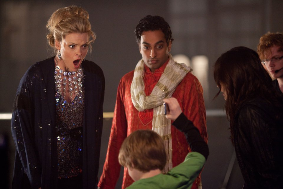 Missi Pyle as Gail, Manu Narayan as Ravi and Matthew Lintz as Victor A Cinderella Story Once Upon a Song picture image