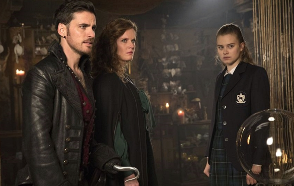 Colin O'Donoghue as Wish-Hook, Rebecca Mader as Zelena and Tiera Skovbye as Robin Once Upon a Time Season 7 Episode 11 Secret Garden picture image