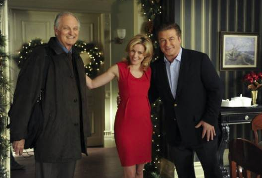 Alan Alda as Milton Green, Elizabeth as Avery Jessup and Alec Baldwin as Jack Donaghy 30 Rock Christmas Attack Zone picture image